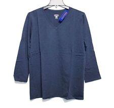 Pendleton - M - NWT$59 - Navy Blue Cotton Knit 3/4 Sleeve V-Neck Tee Shirt - Top