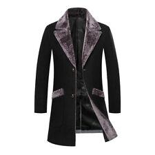 Mens fur collar long parkas wool jacket winter wool coat outwear trench overcoat