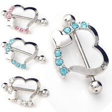 1/2X Sexy-Crystal Rhinestone Heart Body Nipple Bar Barbell Piercing Ring-Jewelry