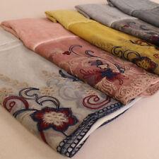Women Flower Embroidery Lace Shawl Cotton Viscose Scarf Plain Muslim Head Hijab