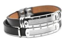 Leder Armband mit Edelstahlplatte Mit GRAVUR Wunschtext Wunschname Wunschgravur