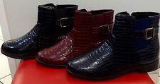 Damen Herbst Schuhe Stiefeletten Boots Gr. 36-41 Schwarz, Rot und Dunkel Blau