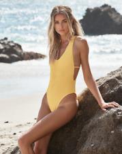Ellejay Women`s Swimwear Thais One Piece Yellow Textured Bathing Suit NWT