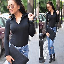 Women Bodysuit Top Blouse Long Sleeve Black Body Top Ladies Stretch Body Suit