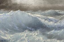 "158- 5""x7"" ORIGINAL CANVAS FINE  ART PRINT MODERN SEASCAPE Crashing Wave Storm"