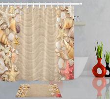 "72X72"" Sea Shell Beach Waterproof Fabric Shower Curtain Liner Bath Decor w/Hooks"