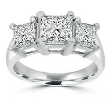 2ct Three Stone Princess Cut Diamond Ring 14K Gold