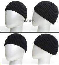 Men Knitted Hat Beanie Skullcap Sailor Cap Cuff Brimless Vintage Fashion Black