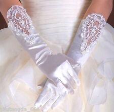 NEW VINTAGE STYLE IVORY LACE WEDDING BRIDES RHINESTONE SATIN GLOVES