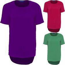 Femmes Haut Bas Manche Courte Dames Uni Baggy Large Haut Smart T-Shirt