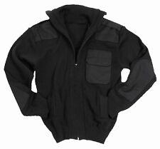 Black Army Style Full Zip Cardigan - Wool Fleece Jumper Top Military New