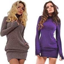 Damen Langarm Minikleid Bodycon Pullover Sweatshirt Tunika Tuniken Kleid BC399