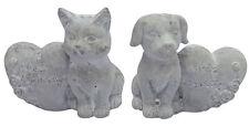 """Steinfigur Grabdeko Hund oder Katze mit Herz """"Mein Liebling"""" Grabschmuck"""