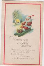 Wishing You A Merry Christmas Santa on Sled Postcard