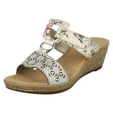 Ladies Rieker Slip On Open Toe Wedge Heel Mule Sandals - '62427'