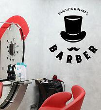 Wall Vinyl Decal Barber Shop Salon Moustache Haircut Scissors Decor z4744