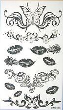 Black Butterfly Lips Glitter Temporary Tattoos #HM0163