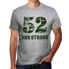52 And Strong Hombre Camiseta Gris Regalo De Cumpleaños 00476