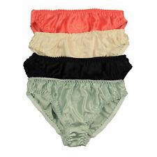 Silk Womens Bikini Panties w/ Cotton Crotch Lot 4 Pairs in One Pack