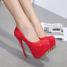 Womens Stiletto Platform Patent Leather Pumps Sexy Nightclub Slip On Vogue Shoes