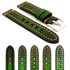 StrapsCo Green Thick Vintage Watch Band Strap w/ Heavy Duty Contrast Stitching