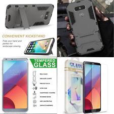 For LG G6 2017 ShockProof Hybrid Hard TPU Slim Armor Cover Stand Case+Glass Film