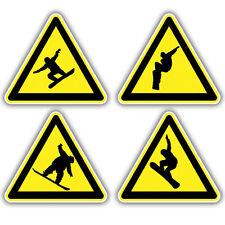4x snowboarder advertencia triángulo pegatinas