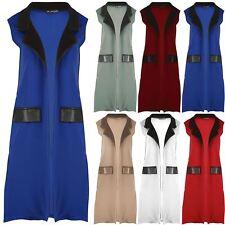 Womens Ladies Pvc Collar Side Slit Front Open Duster Waistcoat Blazer Cardigan