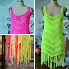 Boho Hippy Crochet Beach Casual Coverup Tassel Dress Bohemian Festival Knit Cute