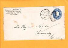 BALTIMORE L.I. Turner & Co Duplex #1 5c Grant PSE To Germany  Z59