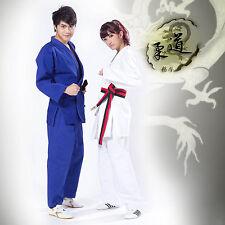 Blanco/Azul Kimono Jiu Jitsu Judo Taekwondo Kungfu Uniforme Con Gratis Cinturón