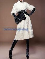 Women New Ladies White Long Fur Coat Jacket Outwear Parka Winter Warm Trench  sz