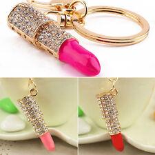Crystal Rhinestone Lipstick Makeup Keyring Purse Car Pendant Keychain Gift SH