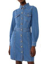 New Ex WAREHOUSE Denim Western Mini Denim Dress in Sizes 8, 10, 12 RRP £42