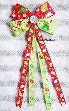 CHRISTMAS Red Green Mitten Handmade Girl Hair Accessories Ribbon Bow Clip Bobble