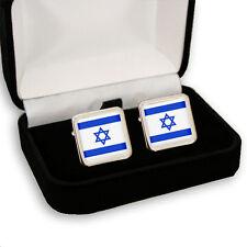 ISRAEL FLAG STAR OF DAVID MEN'S CUFFLINKS GIFT ENGRAVING