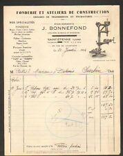 """SAINT-ETIENNE (42) USINE FONDERIE & ATELIER de CONSTRUCTION """"J. BONNEFOND"""" 1934"""