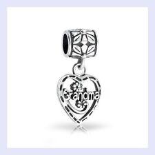STR Silver Grandma Dangle Heart Pendant Flower Bead for European Charm Bracelet