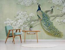 3D Green Peacock 77 Wallpaper Mural Paper Wall Print Murals UK Jenny