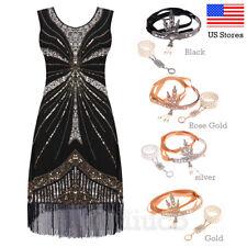 1920s Flapper Dress Great Gatsby Sequin Art Deco Tassels Dresses Vintage Jewelry