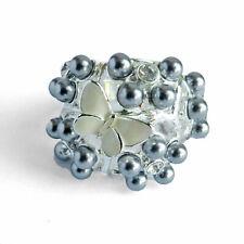 bague plaqué or blanc cristal swarovski perles nacrées grises papillon blanc