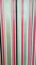 Pink Black Metallic Silver White Stripe Striped Stripey Barcode Wallpaper - SALE