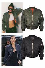 Womens Plus Size MA1 Classic Padded Bomber Jacket Ladies Vintage Zip  Biker Coat