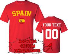 SPAIN World Cup Unisex TSHIRT Jersey Custom Text Number Spain Flag Tee Shirt FIF