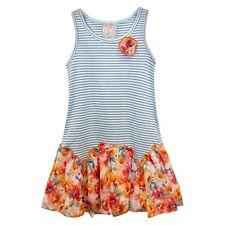 Sara Sara Neon Girls Blue Striped Orange Floral Dress - Infant & Toddler Sizes
