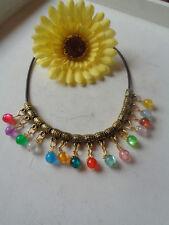 Halskette Kautschuckband antik goldener Anhänger Katzenauge