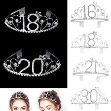 Wedding Bridal Crystal Hair Tiara Princess Crown Veil Birthday Digital Headband