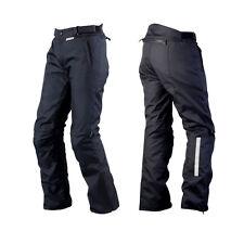 Hombre Negro Textil Impermeable CE Blindado Motocicleta Pantalones