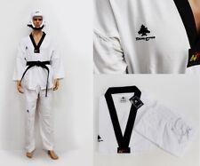 Lightweight Taekwondo Suit 100% Polyester and Mesh Inset Black V-Neck Dobok Tkd