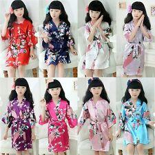 Kids Girls Silk Satin Kimono Robes Peacock Bathrobe Sleepwear Homewear Pajamas